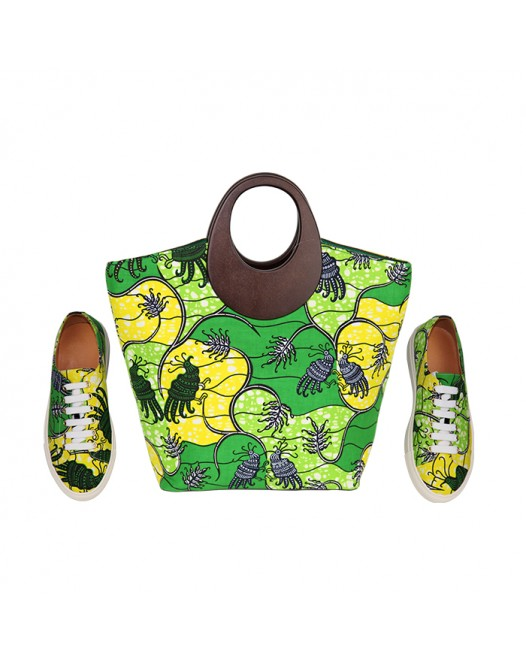 Women Stylish Green design patch Ankara Bag with Stylish Sneakers