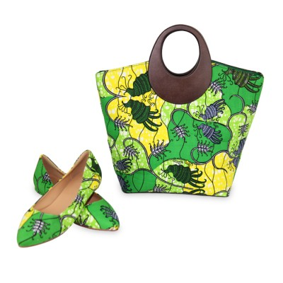 Women Stylish Green design patch Ankara Bag with Stylish Flat