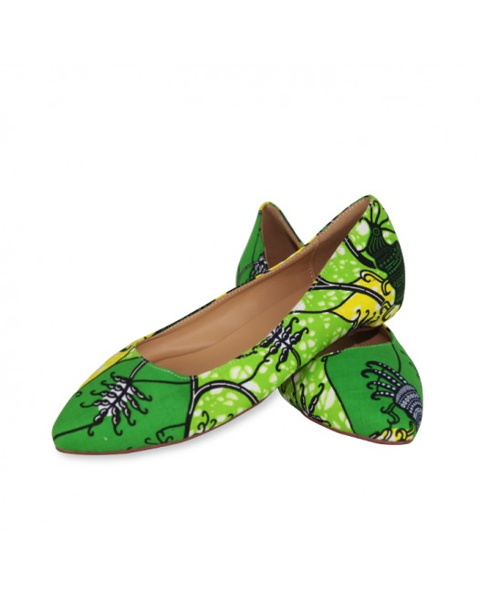 African Women Green Ankara Flat Shoe