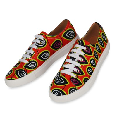Unisex Trendy Converse Orange design ankara sneakers