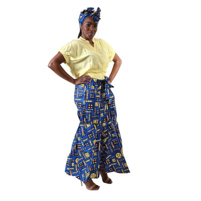 African Print Skirt Ankara Maxi Skirt Dashiki Skirt With yellow shirt