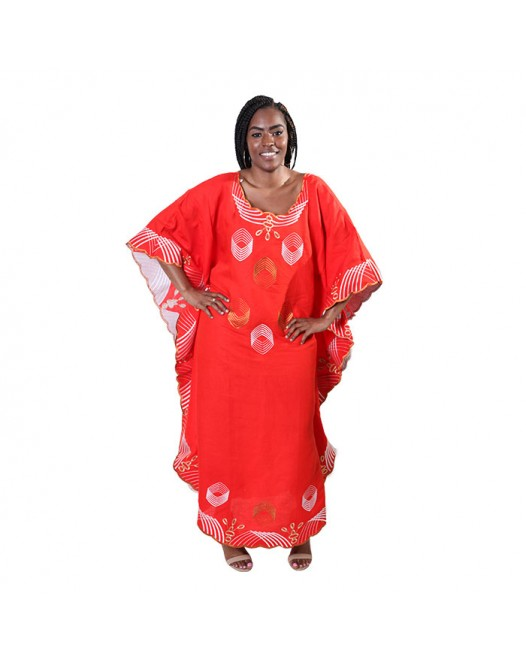 African Orange Boubou Woman Elephant Design Dress