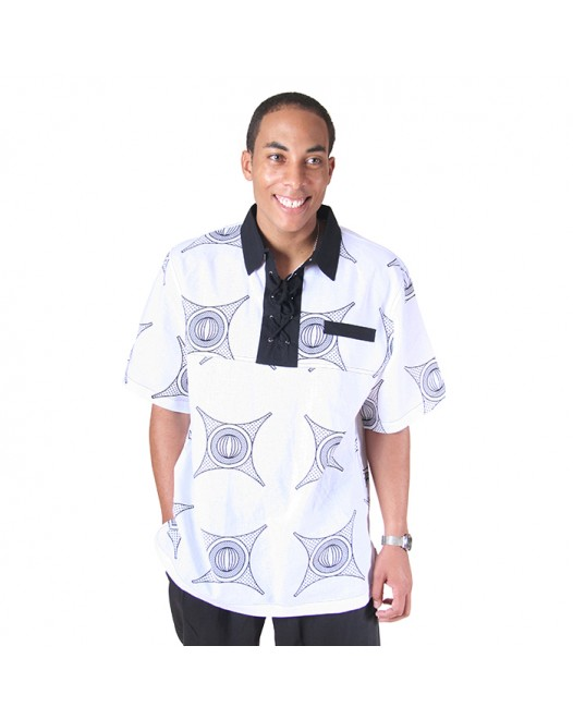 Mens Collar Neck Thread Design White Classy -Shirt